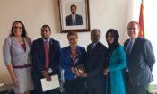 COM Natalie E. Brown, Rep. Joe Neguse, Rep. Karen Bass, MOFA. Osman Saleh, Rep. Ilhan Omar and DCM Stephen Banks