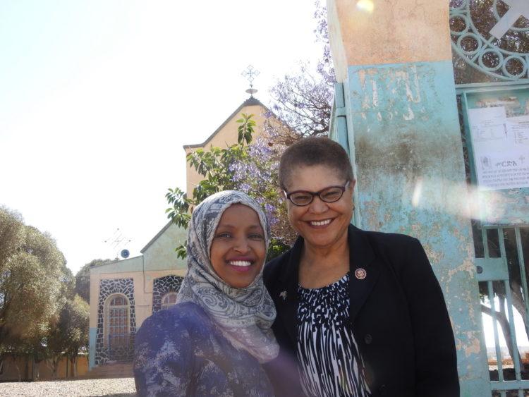 Rep. Ilhan Omar and Rep. Karen Bass visiting St. Michael Church, Asmara Tour.